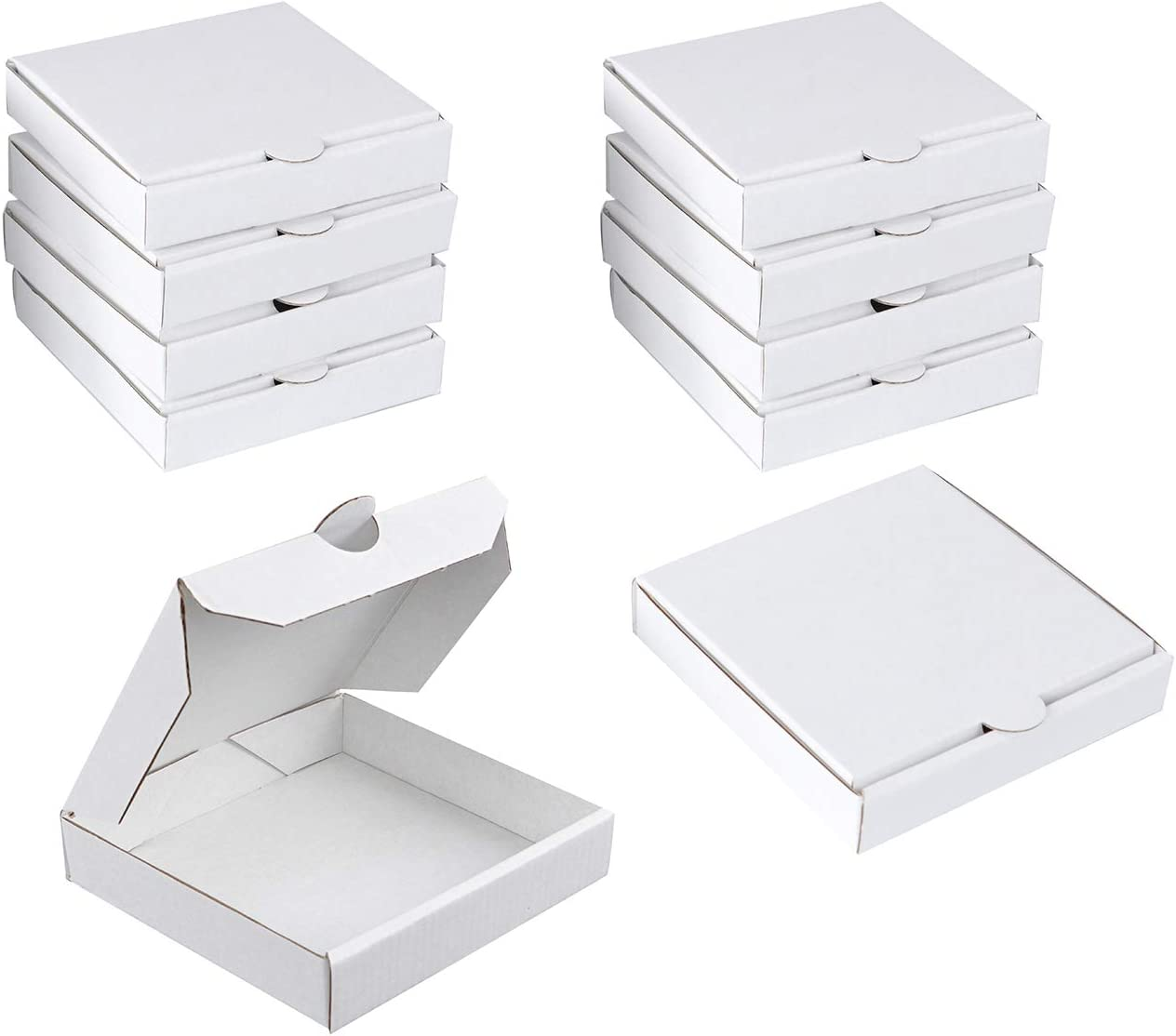 Spec101 White Mini Pizza Boxes, 5 Inch for Cookies, Party Favor, Craft - Food Safe Miniature Cardboard Box 10-Pack