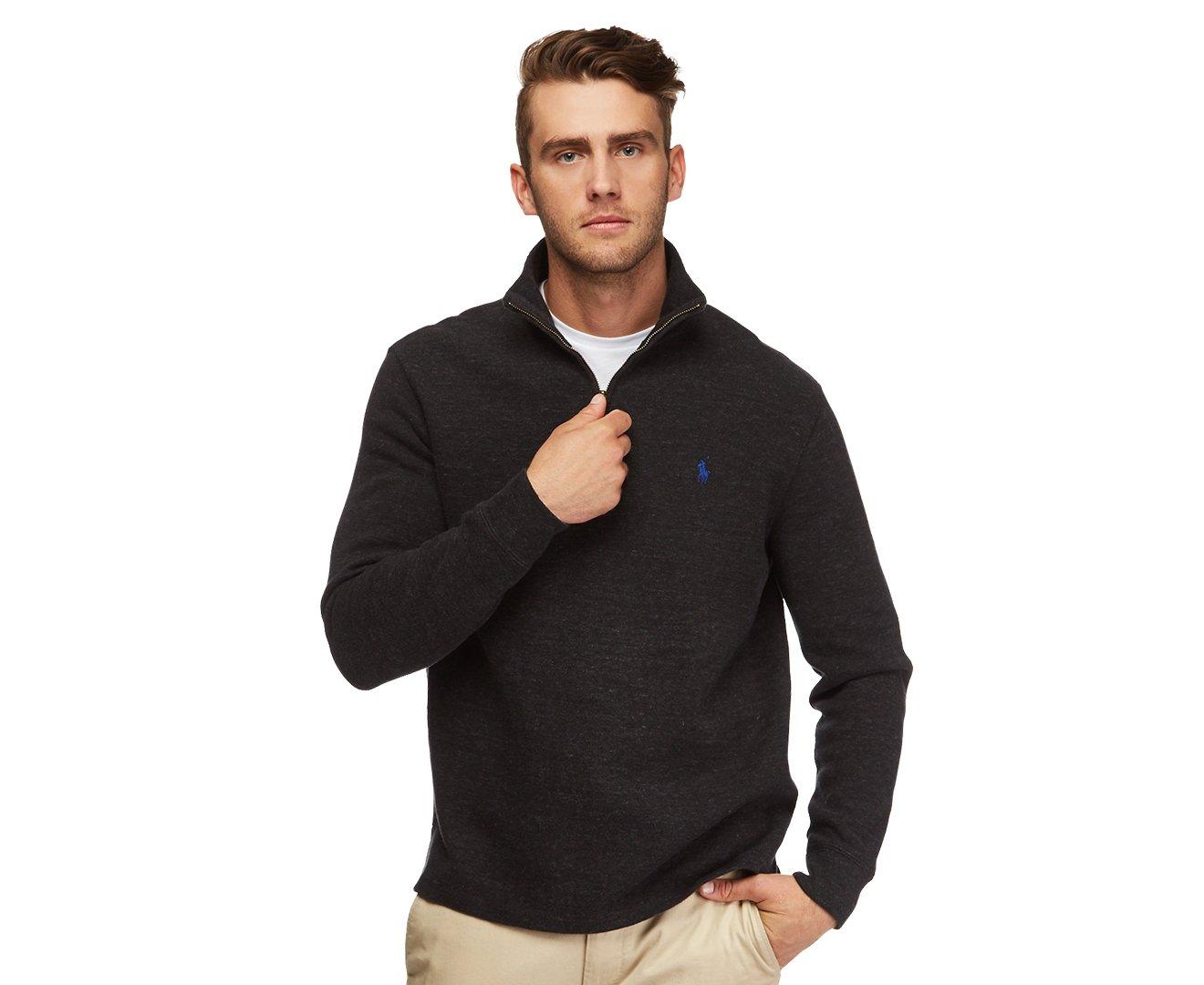 Polo Ralph Lauren Mens Half Zip French Rib Cotton Sweater (Black Marble, XL)