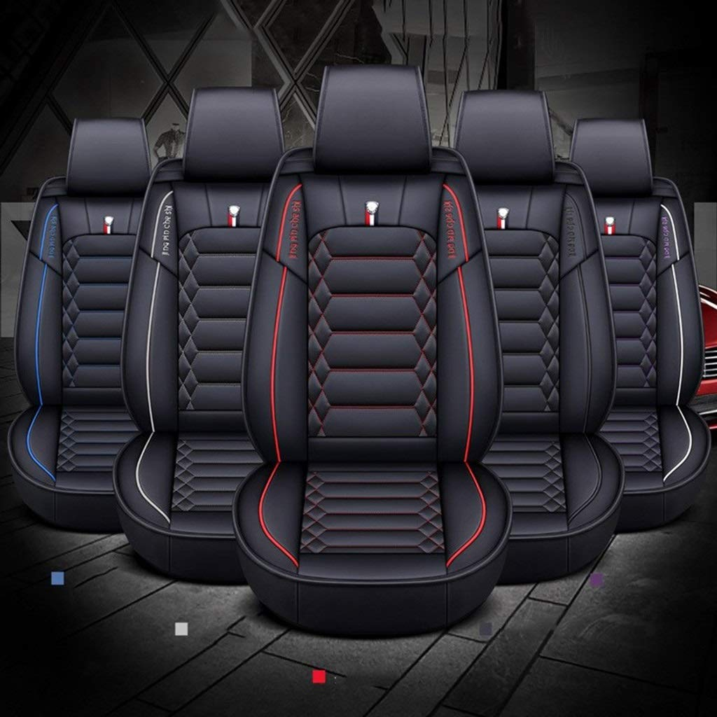 Color : White DAPENG Car Seat Cover Front and Rear 5 Seats Full Set of Universal Leather Four Seasons Seat Cover