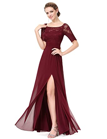Ever-Pretty Elegant Illusion Neckline Half Sleeves Evening Dress 8UK Burgundy