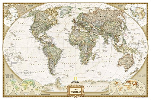 National Geographic - World Executive Map, Enlarged & Laminated Poster by National Geographic 73 x 48in by National Geographic (Image #1)
