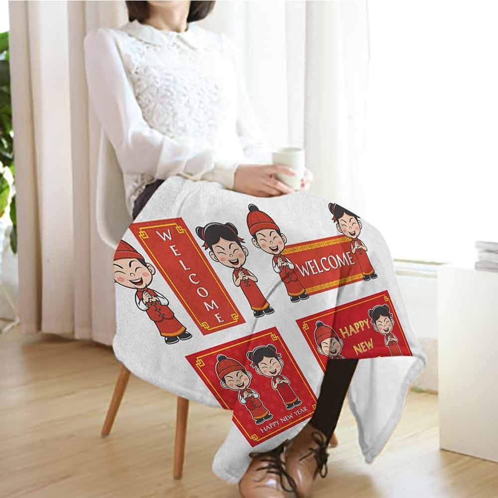 Chinese New Year Travel Blanket,Happy Wishes and Greeting with Little Boys Girls Joyful Lunar Festival 300GSM,Super Soft and Warm,Durable Throw Blanket,70'' Wx90 L Multicolor by Custom&blanket (Image #3)