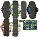 7pcs Set 1pc Mini Wet Bag +6pcs 10 Inch Regular Charcoal Bamboo Mama Cloth/ Menstrual Pads/ Reusable Sanitary Pads by Hibaby