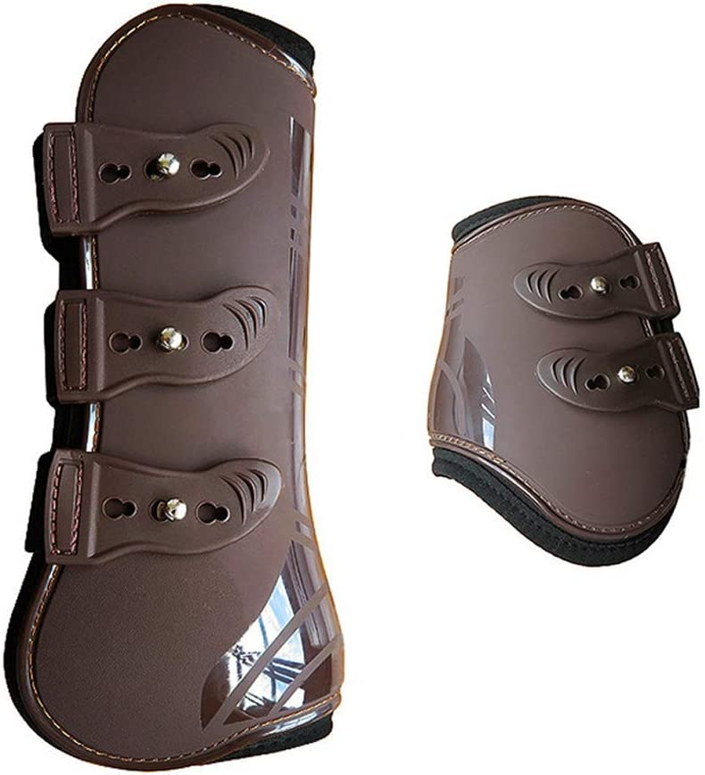 PU Leather Leg Wraps Adjustable Front Hind Leg Boots Equine Leg Guard Equestrian Tendon Protection Horse Hock Brace MOOUK 4 PCS Horse Leg Neoprene Boots