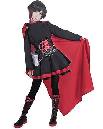 Amazon Com Miccostumes Women S Red Rose Cosplay Costume Clothing