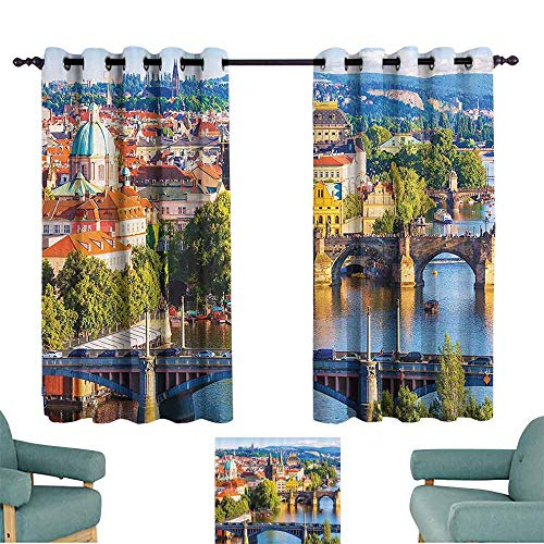 DILITECK Decorative Curtains for Living Room Wanderlust Decor Collection Summer Old Town Charles Bridge Over Vltava River in Prague Czech Republic Image W84 xL72 Ivory Blue Green ()