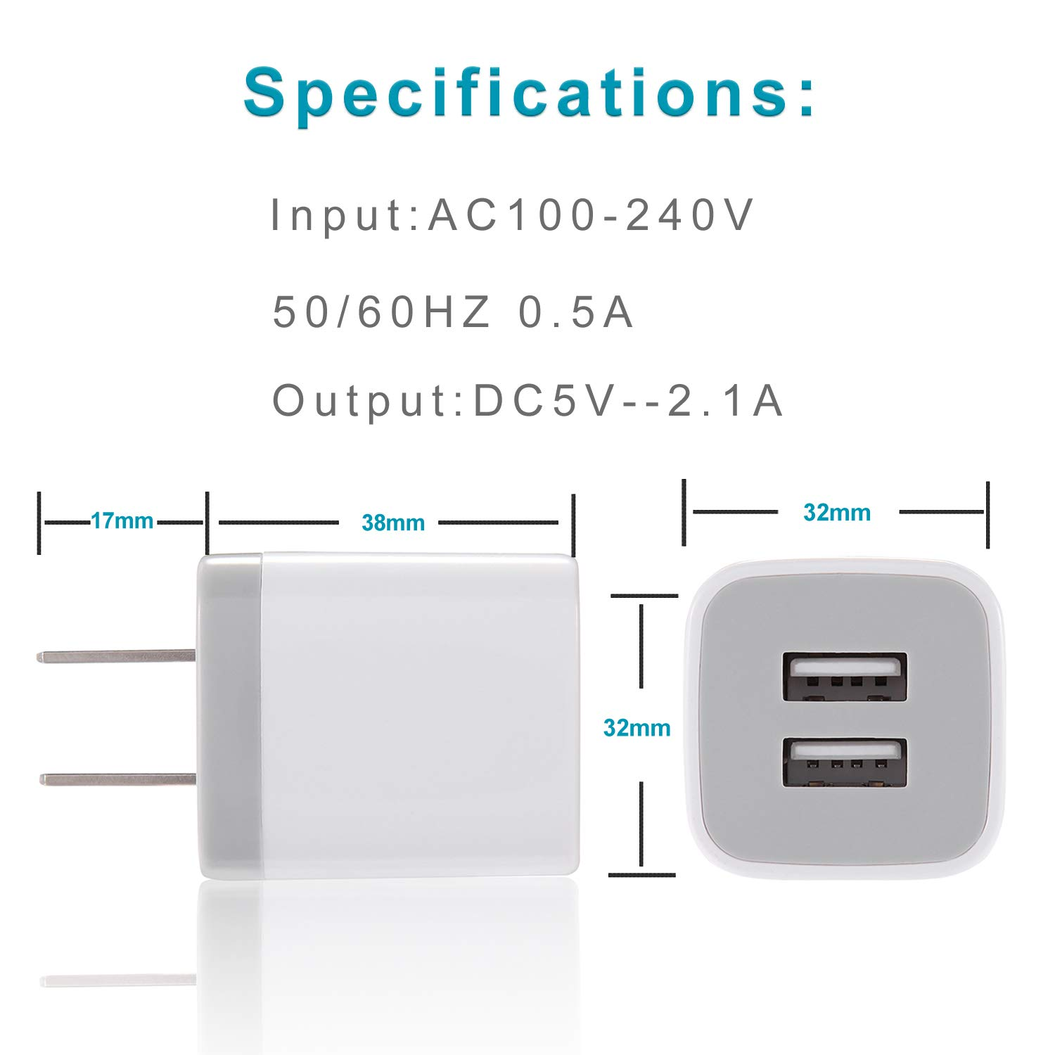 iPhone Charger, DENWAN Dual USB Wall Adapter Plug Block 2.1A/5V with 2-Pack (6ft / 3ft) Fast Charging Cable for iPhone X/8/7/6S Plus SE/5S/5C, iPad, iPod by DENWAN (Image #6)
