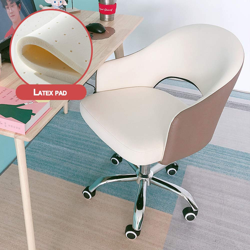 Kontorsstol mellanrygg justerbar höjd med armstöd och svängbara underlägg tjock sittdyna Vitt