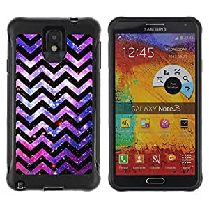 All-Round Hybrid Rubber Case Hard Cover Protective Accessory Compatible with SAMSUNG GALAXY NOTE 3 - pattern lines universe cosmos pink