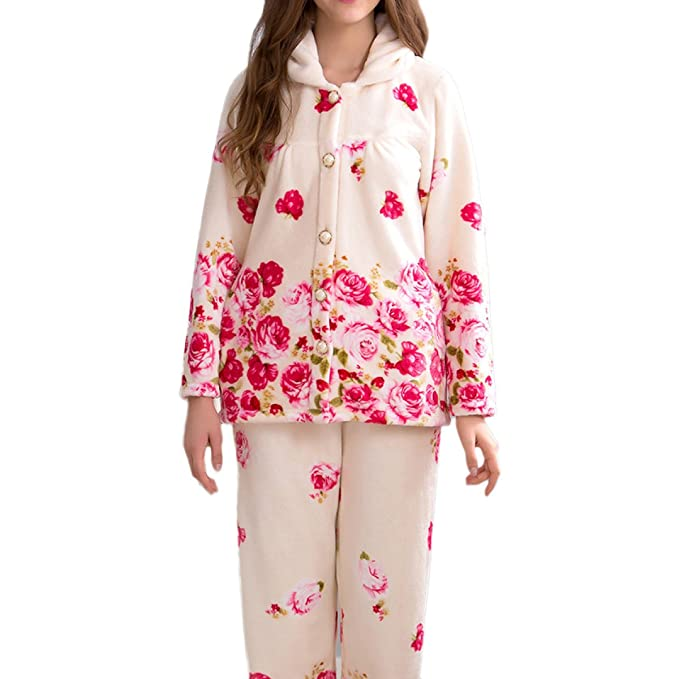 Pijamas De Lujo De La Franela De Las Señoras Suaves Acogedoras Pantalones De Pijamas Impresos De