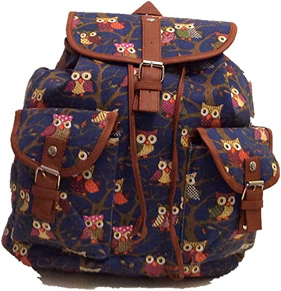 New Small Soft Canvas Rucksack//Backpack Owl Animal Pattern Navy Blue//Black//Pink