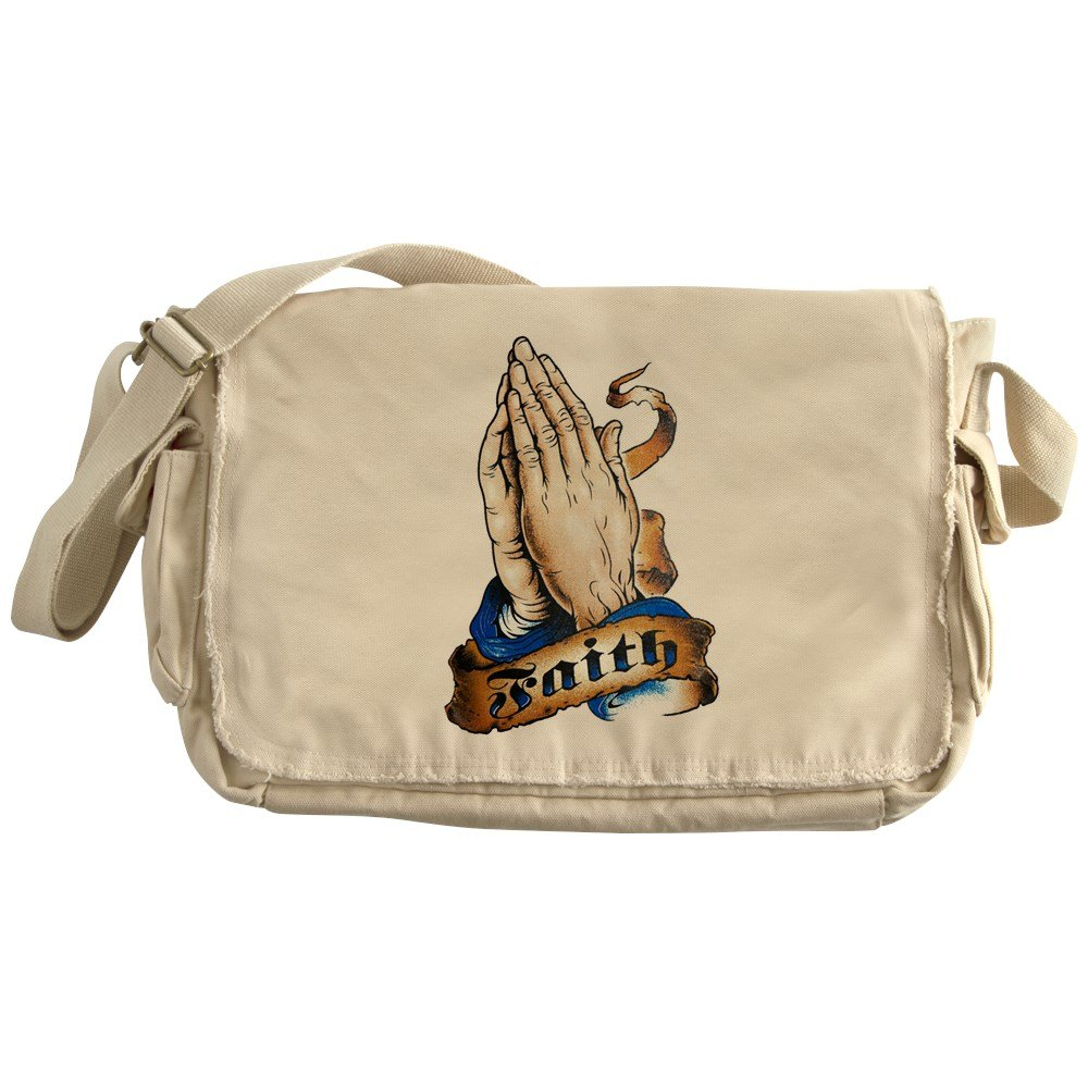 Royal Lion Khaki Messenger Bag Faith Religious Praying Hands
