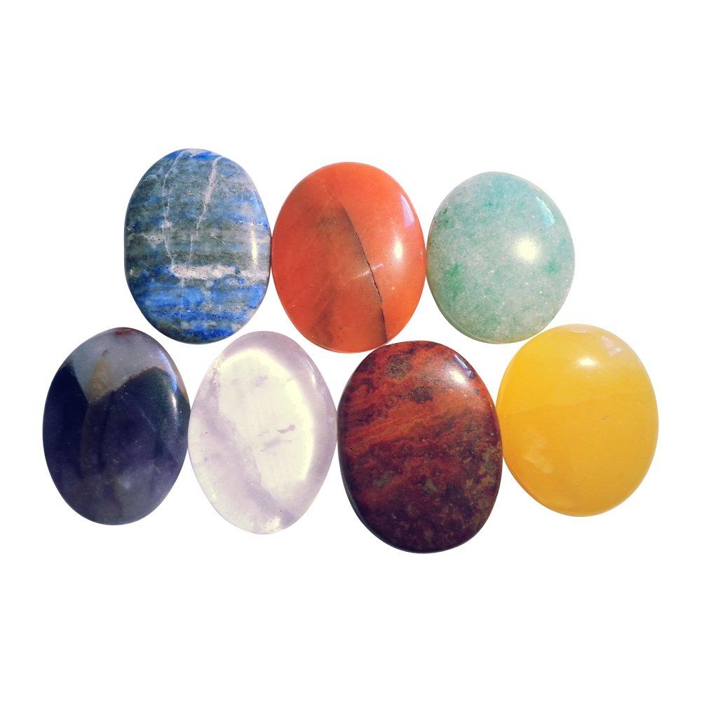 Lot de 7 pierres chakra avec sachet en velours