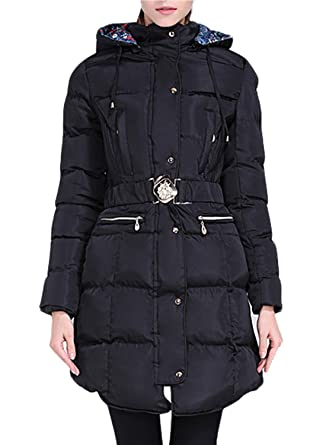 dbcc881027a1 Happy Sailed Women Lightweight Hooded Long Down Outerwear Windbreaker  Outdoor Quilted Down Parka Jacket Medium Black