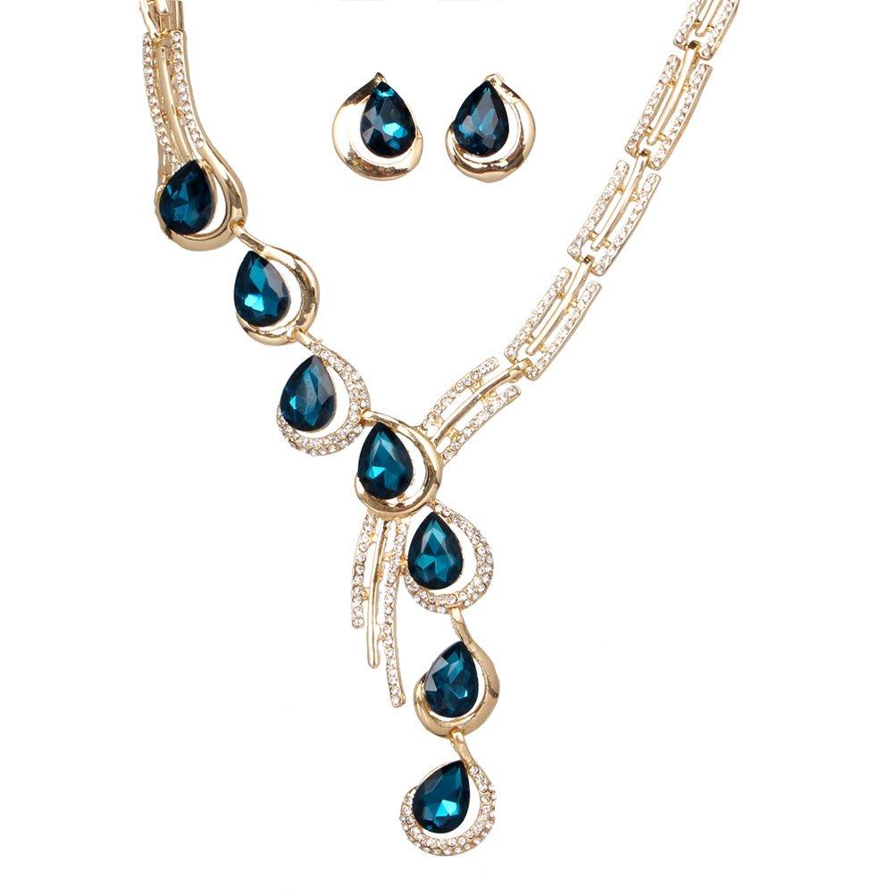 SunIfSnow Fashion Tilt One Line Blue Crystal Diamond Necklace