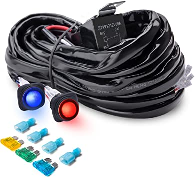 Amazon.com: MICTUNING Heavy Duty 14AWG 300W 2-Circuit Led Light Bar Wiring  Harness Kit with Fuse, 60Amp Relay, Dual Waterproof Switches Red Blue(14AWG):  AutomotiveAmazon.com
