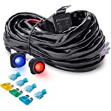 MICTUNING Heavy Duty 300W 2-Circuit Led Light Bar Wiring Harness Kit w/Fuse, 60Amp Relay, DUAL Waterproof Switches Red Blue(14AWG)