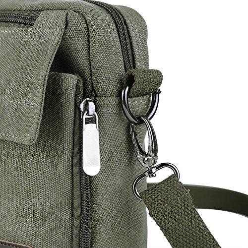Zicac- Los nuevos bolsos de hombres de la vendimia de la lona multifunción Viajes Satchel / Mensajero bolso pequeño (Negro) verde