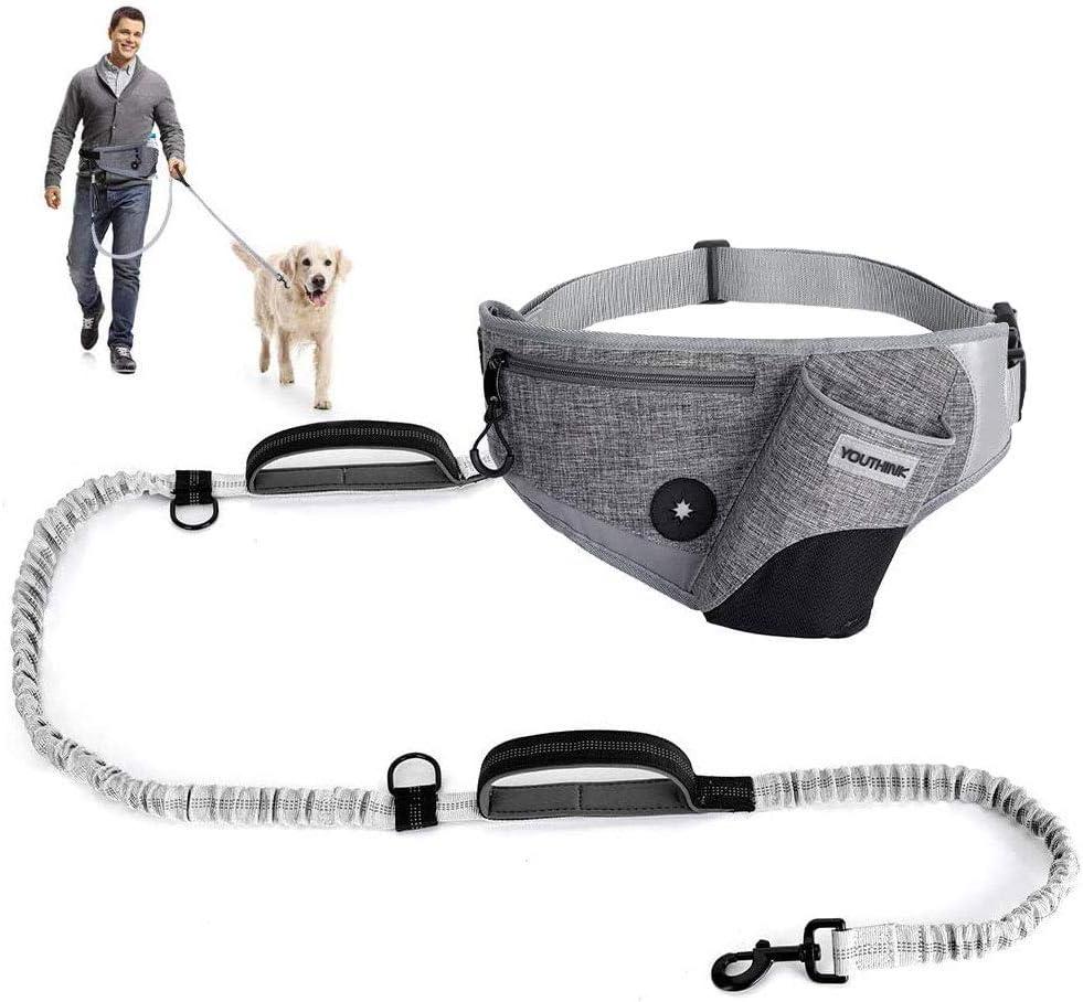 YOUTHINK Correa de Perro Manos Libres, Correa para Perros con Bolsillo para teléfono Celular, portabotellas, Ajusta el tamaño de la Cintura Correa retráctil para pasear al Perro