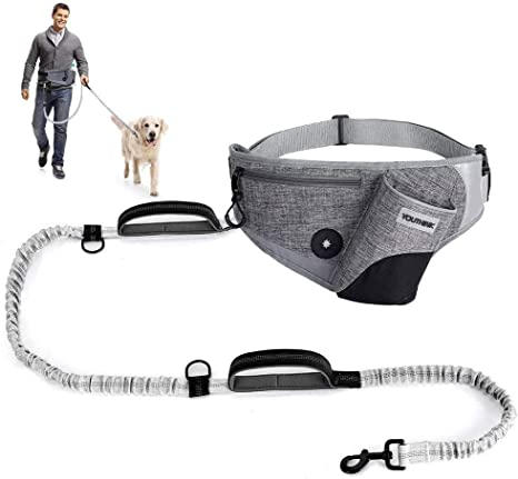 Hands Free Dog Leash with Pouch Great for Medium /& Large Dogs Reflective Stitches Comfortable Dog Leash for Running Walking /& Jogging Adjustable Belt