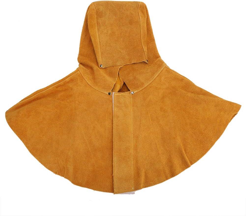 Capucha para Soldador, Protección Facial para el Cuello con Aislamiento Térmico de Piel de Vaca Amarilla, Casco de Soldadura, Máscara de Seguridad
