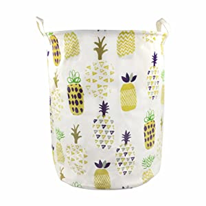 Orino 19 x 16.5 Inches Extra Large Canvas Fabric Folding Storage bin with Handle Waterproof Home Decor Laundry Hamper Organize Pineapple Storage Baskets for Dirty Clothes, Toy (Yellow)