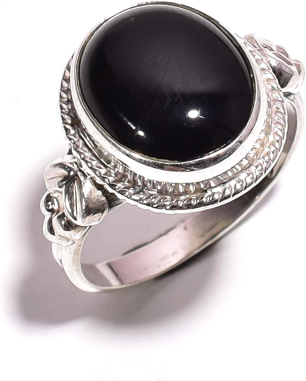 Mughal ZR-710 - Anillo de Plata de Ley 925 con Piedras Preciosas de ónix Negro Natural para Mujeres y niñas, Talla 6,25 (EE. UU.)