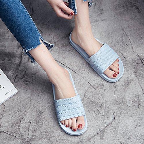 FankouZapatillas mujer verano cubierta blanda antideslizante zapatillas de baño baños casa piso gruesos macho quedarme un par de zapatillas cool home ,35-36, Blue-Q)