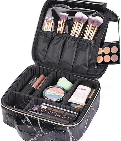 Compartimentos funcionales para cosméticos, maquillaje, bolsa de almacenamiento, diseño de mármol, estuche de viaje para brochas de maquillaje, para mujeres y niñas: Amazon.es: Belleza