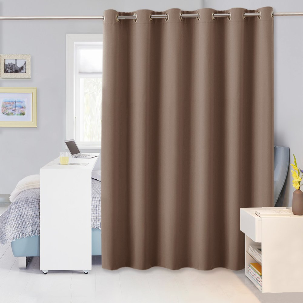 Privacy Room Divider Blackout Curtain - PONY DANCE Hide Clutter Separate Functions Grommet Top Loft Curtains Screen Partition for Sliding Patio Doors, Mocha, W 10 x L 8ft, 1 Panel