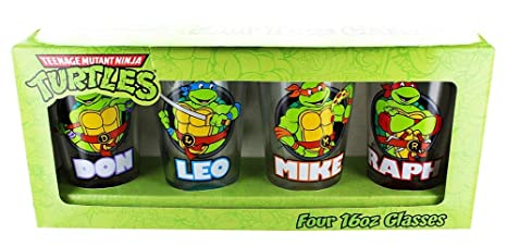 TMNT Teenage Mutant Ninja Turtles with Names Set of 4 Pint ...