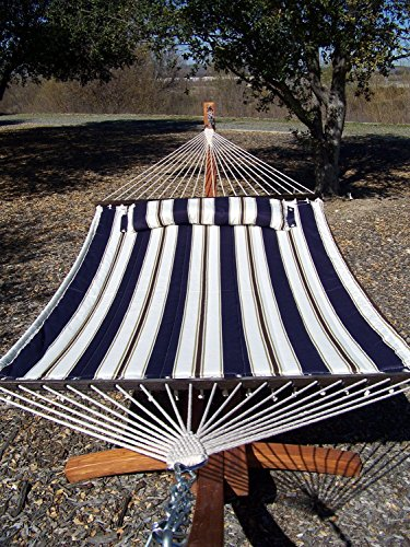 Petra Leisure 14 Ft. Wooden Arc Hammock Stand + Deluxe Quilted Double Padded Hammock Bed w/Pillow. 2 Person Bed. 450 LB Capacity(Teak Stain/Elegant Blue Stripe)
