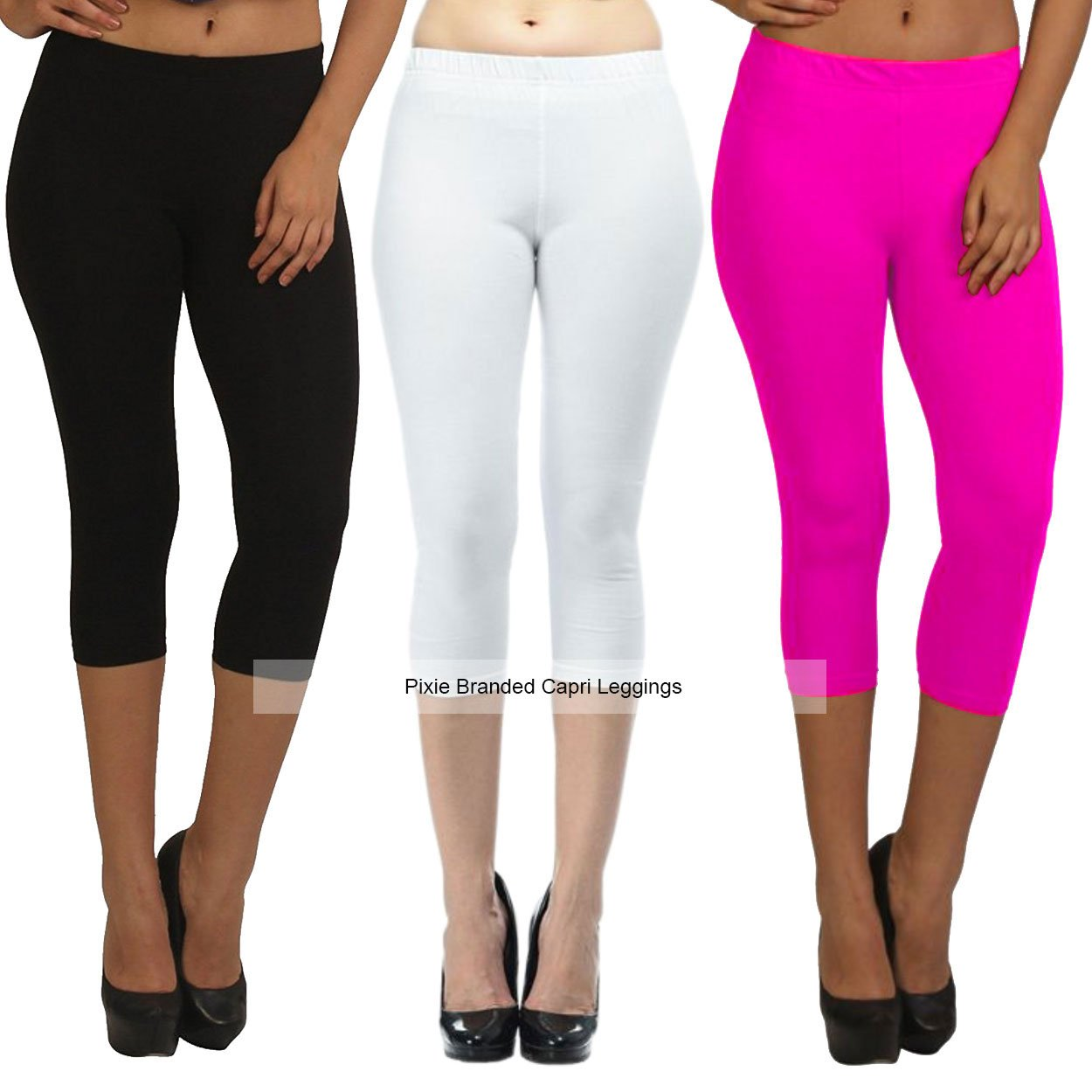 04b8b44132c7a1 Pixie Capri Leggings | 3/4th | Pants | Combo Pack of 3 for  Women/Girls/Ladies (Black, White and Baby Pink) - Free Size: Amazon.in:  Clothing & Accessories