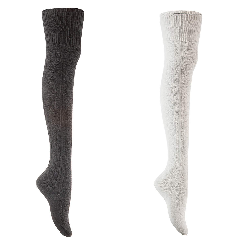 Black+cream AATMart Women's 2 Pairs Fashion KneeHigh Cotton Socks M1025 Size 59