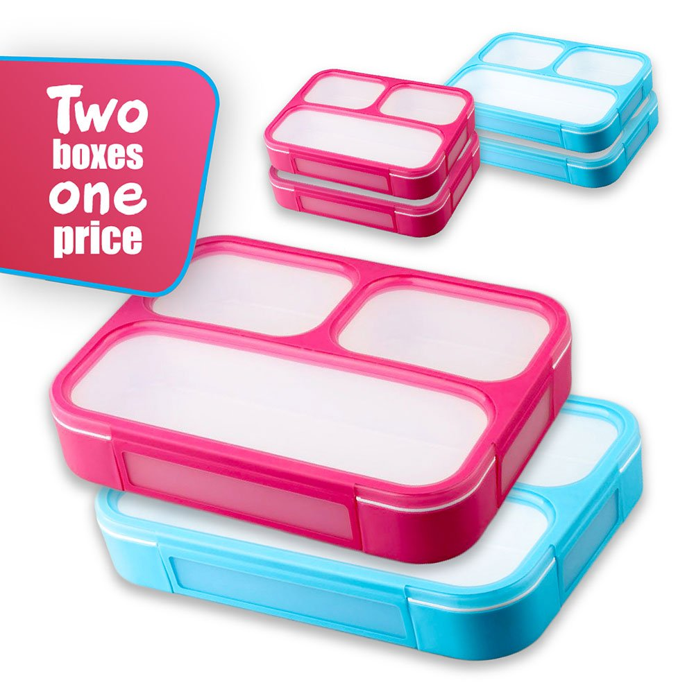 Leakproof Bento Lunchboxes, Lunch Containers 3 Compartments (2-Pack), no smells, food prep, meal planning, Microwave and Freezer Safe - FDA Approved and BPA Free by New Tomorrow