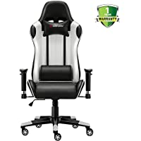 JL Comfurni Gaming Chair Racing Style Ergonomic Swivel Computer Office Chairs Adjustable Height Reclining High-Back with Lumbar Cushion Headrest Leather Chair