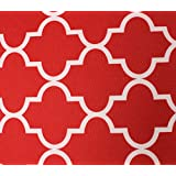 """Indoor/Outdoor Waterproof Moroccan Mosaic Canvas Fabric RED UV Resistant 60"""" Wide Sold by the yard"""