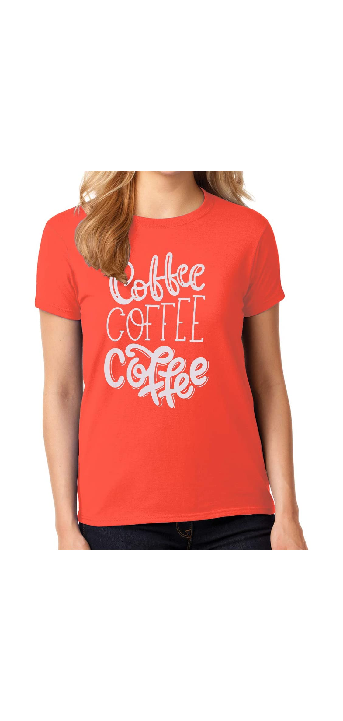 Coffee T Shirts For Women Coffee Coffee Coffee Letters Print Tee