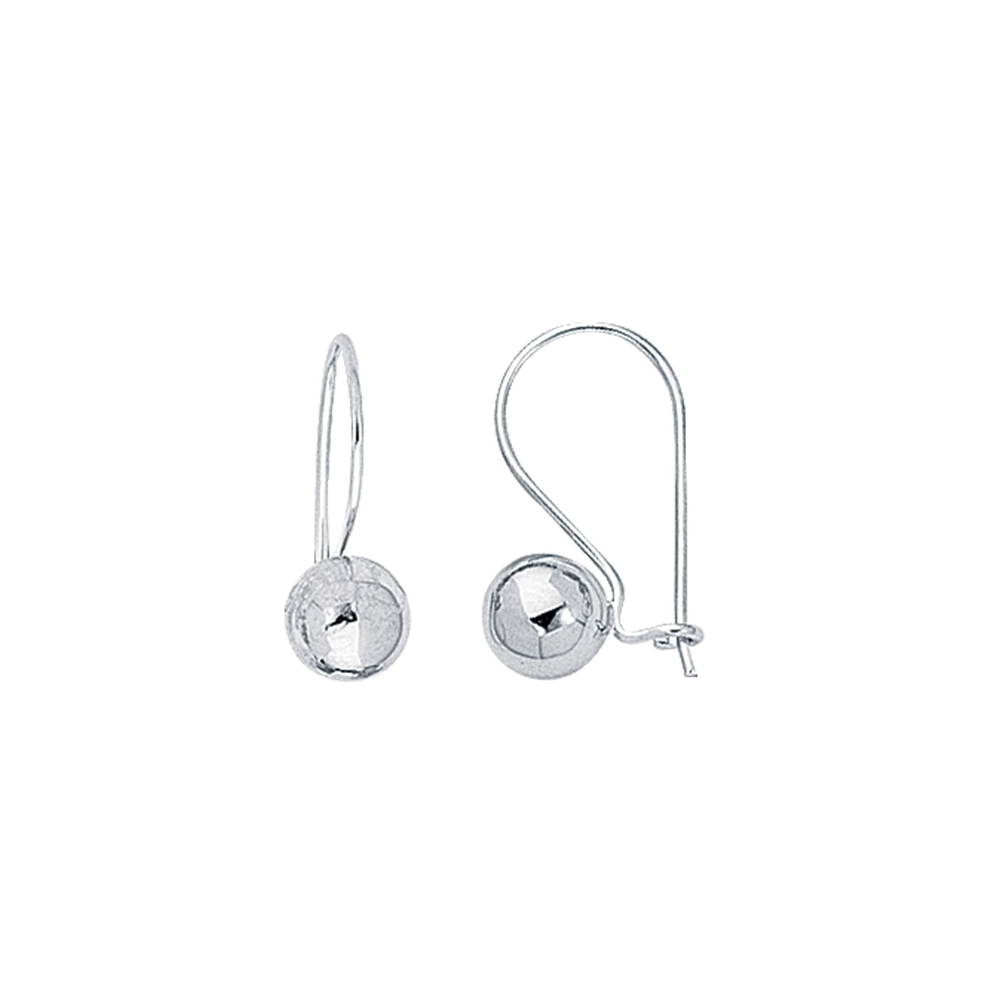 Finejewelers 14 Kt White Gold 7.0mm Round Ball Leverback Earring