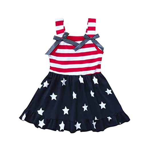 53b247a1a82a2 Moonker Baby Girls Dresses,Infant Toddler Girls Star Print 4th of July  Striped Bowknot Straps
