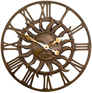 Primrose Decorative Garden Sun Clock In A Copper Finish   Outdoor Garden  Decor Wall Clock