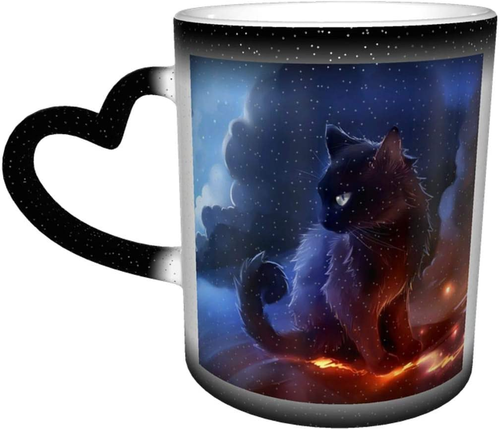 Custom Color Changing Mug Cat Warrior Heat Sensitive Mug with Gift Box for Christmas Birthday Office Ceramic Coffee Mug Novelty Idea Gift 12 Oz
