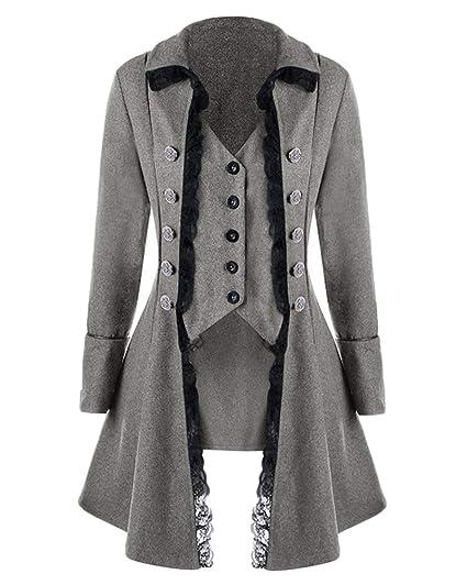 Veste Costume Steampunk Gothique Queue De Pie Manteau De Femme Manteau  Cosplay Halloween Gris S 11dd01979c4