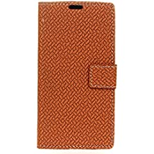 Case for Alcatel A3 [PU Leather], BasicStock Woven Stand Function Magnetic Closure Wallet Case with Money and Card Slots Flip Cover Screen Protector for Alcatel A3 (Brown)