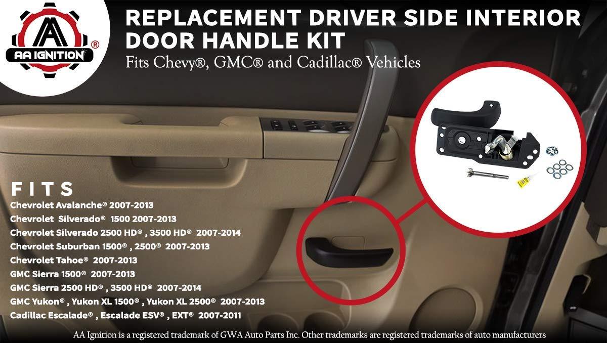 20833606 GMC Sierra Fits Chevy Silverado Tahoe Suburban Cadillac Escalade 2007-2014 Interior Door Handle Kit Yukon Avalanche Front Drivers Side Yukon XL Replaces# 80374