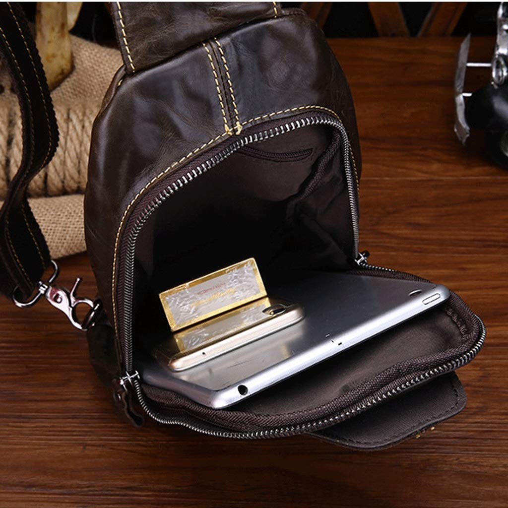 RXF Mens Messenger Bag Leather Casual Work Travel Bag Color : Black, Size : S