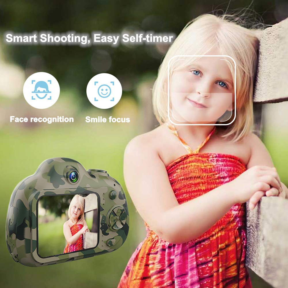 PerfectPromise Kids Camera,Great Gift for 3-10 Years Old Boys Girls,Dual 8MP HD Video Toy Camera & Camcorder with Soft Silicone Shell for Child Outdoor Play --Camo (32G TF Card Included) by PerfectPromise (Image #5)