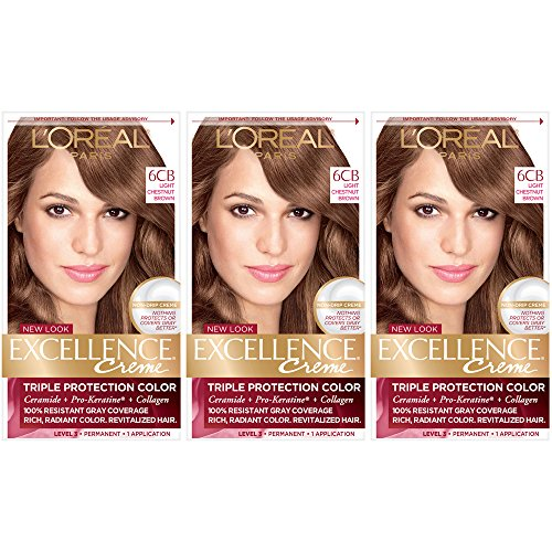 - L'Oreal Paris Excellence Creme Permanent Hair Color, 6CB Light Chestnut Brown (Pack of 3)