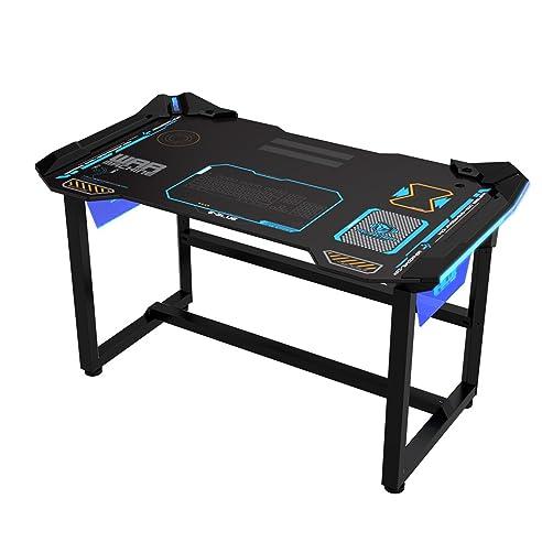 Pc schreibtisch  E-Blue 1,2 m Gaming PC Schreibtisch mit Wireless LED Glow: Amazon ...