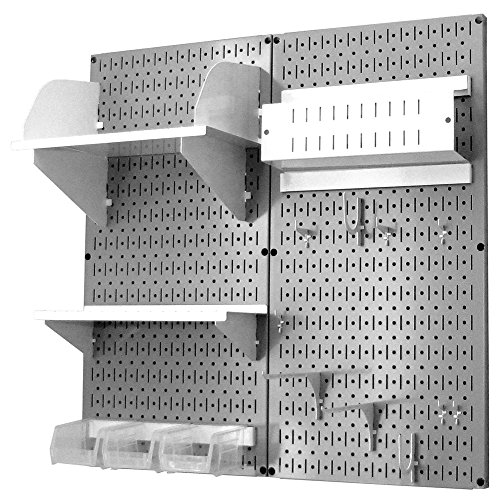 Wall Control 30-CC-200 GW Hobby Craft Pegboard Organizer Storage Kit with Gray Pegboard and White Accessories by Wall Control